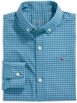 Vineyard Vines Boys' Alicetown Gingham On-The-Go Performance Whale Shirt