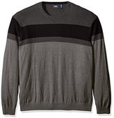 Izod Men's Big and Tall Fine Gauge Stripe Crew Sweater