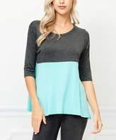 Bellino Charcoal & Mint Color Block Elbow-Sleeve Top