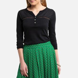Anne Weyburn Grandad Collar T-Shirt in Cotton Slub with Long Sleeves and Lace Trim