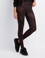 Charlotte Russe High-Waisted Stretch Cotton Floral Leggings