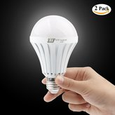 YJY Rechargeable Emergency LED Light Bulb Lamp - Still Work After Power Outage - 5W 6500K E27 E26 120V 220V - 2 Pack