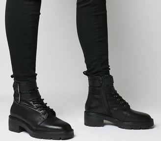 Office Authority Lace Up Boots Black Leather