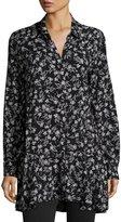 Neiman Marcus Floral Button-Front Tunic Blouse