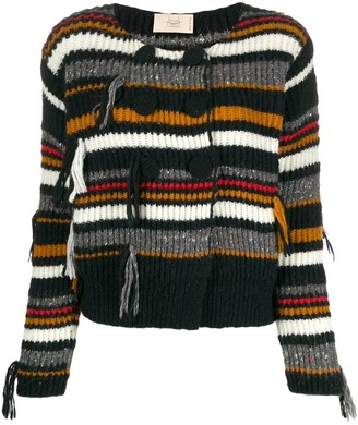 Maison Flaneur Double-Breasted Striped Cardigan