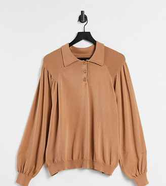 ASOS DESIGN Maternity jumper with collar and volume sleeve in camel
