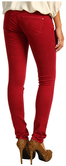 Mavi Jeans Serena Low-Rise Super Skinny Sueded Denim in Sueded Red