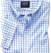 Charles Tyrwhitt Slim fit button-down non-iron poplin short sleeve sky blue gingham shirt