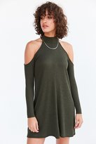 Silence & Noise Silence + Noise Cold Shoulder Mock-Neck Frock Mini Dress