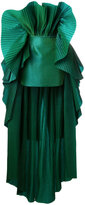 Isabel Sanchis - pleated structured high-low hem dress - women - Silk/Polyamide/Viscose - 38