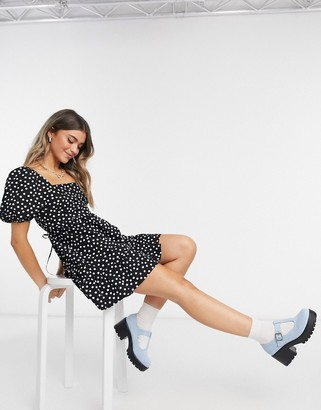 Miss Selfridge poplin smock mini dress in black spot