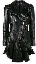 Alexander McQueen peplum waist biker jacket - women - Silk/Lamb Skin - 40