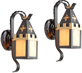 Rejuvenation Pair of Storybook Entry Sconces w/ Art Glass Panels