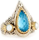 Konstantino Amphitrite Teardrop Topaz & Pearl Statement Ring, Size 7