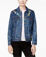 Lucky Brand Tomboy Trucker Embroidered Denim Jacket