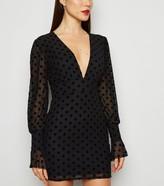 New Look Missfiga Polka Dot Mesh Bodycon Dress