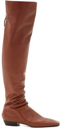 The Row Slouch Over-the-knee Leather Boots - Brown