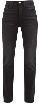 Frame Le Sylvie Straight-leg Cropped Jeans - Womens - Dark Grey