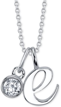 """Unwritten Initial & Cubic Zirconia Silver-Plated Charm Pendant Necklace, 16"""" + 2"""" extender"""