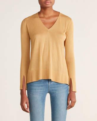 Roberto Collina Gold Deep V-Neck Cashmere Sweater