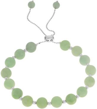 Sterling Silver Jade Bead Bolo Bracelet