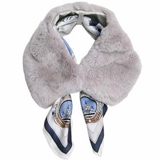 Jeff & Aimy Womens Scarf 100% rabbit fur Circle Infinity Loop Fleece Mask Neck Warmer Scarves Grey