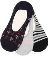 Sperry Printed No Show Socks - 3 Pack - Women's