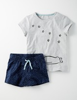 Jersey PJ Set Bear Logo/Navy Stars Girls Boden