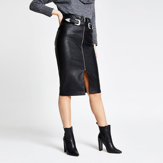 River Island Black faux leather zip belted pencil skirt