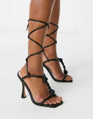 ASOS DESIGN Napoleon twisted t-bar heeled sandals in black
