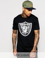 Majestic Longline Raiders T-shirt With Large Logo - Black