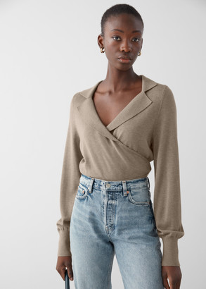 And other stories Fitted Cropped Wrap Sweater