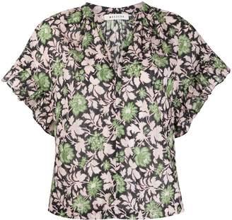 Masscob Foliage Patterned Ruffle Sleeve Shirt