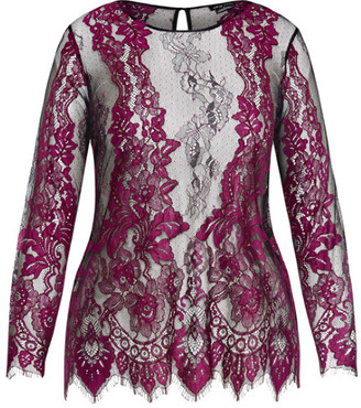 City Chic Royal Lace Top - fuchsia