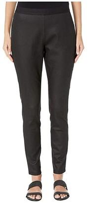 Eileen Fisher Coated Organic Cotton Stretchy Denim Leggings (Black) Women's Jeans