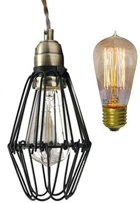 Long Life Lamp Company Vintage Bird Cage Pendant Antique Brass Opening and Closing Industrial Hanging Ceiling Light With 40 W E27 Vintage Bulb
