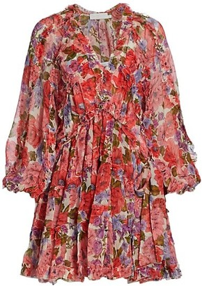 Zimmermann Poppy Poppy Frill Billow Silk Mini Dress