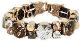 Betsey Johnson Mixed Patina Faceted Stone and Leather Bracelet