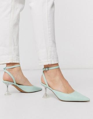 ASOS DESIGN Spice flared heels in mint