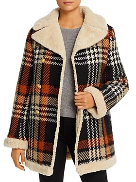 Tory Burch Faux-Shearling Lined Plaid Coat