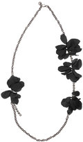 Lanvin Long Chain Flower Necklace, Black