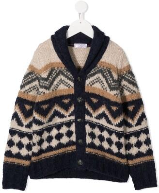 BRUNELLO CUCINELLI KIDS Geometric-Knit V-Neck Cardigan