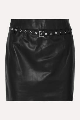 Blouse BLOUSE - Belted Leather Mini Skirt - Black