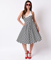 Unique Vintage Black & White Chevron Stripe Halter Skipper Swing Dress