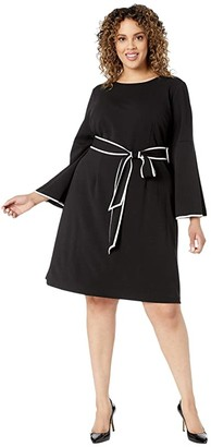 Adrianna Papell Plus Size Knit Crepe A-Line Dress w/ Contrast Trim Detail (Black/Ivory) Women's Dress