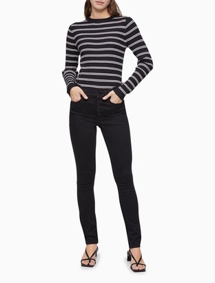 Calvin Klein Striped Ribbed Knit Sweater