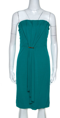 Gucci Green Knit Ruched Detail Strapless Cocktail Dress L