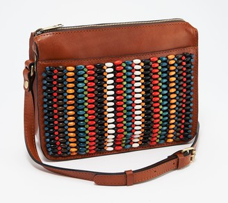Patricia Nash Leather Beaded Top Zip Crossbody Bag - Nazaire