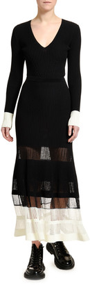 Alexander McQueen Long-Sleeve Contrast-Cuff Ribbed Sweater
