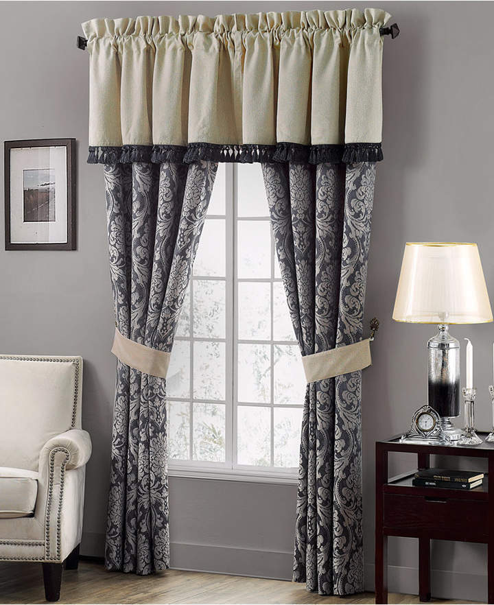 "Waterford CLOSEOUT! Sinclair Indigo 21"" x 55"" Tailored Window Valance"